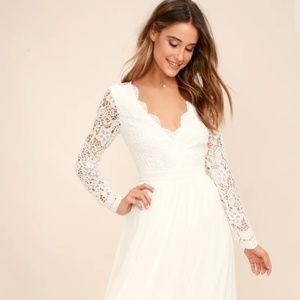 Lulus Awaken My Love Long Sleeve Lace Maxi Dress